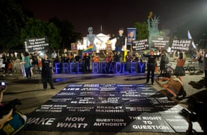 Bradley Manning protests: Supporters demonstrate in front of the White House during a night time rall