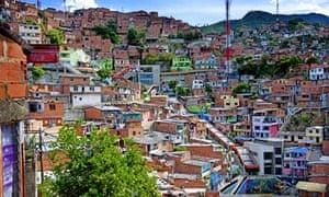 Medellin slum has outdoor escalator installed, Colombia - 29 Jul 2013