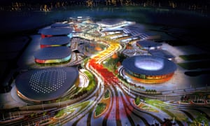 Glowing glory … plans for the Rio 2016 Olympic park in Barra da Tijuca. Photograph: Aecom