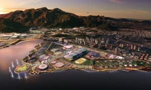 The Olympic park occupies a triangular site on the edge of the Jacarepaguá lagoon