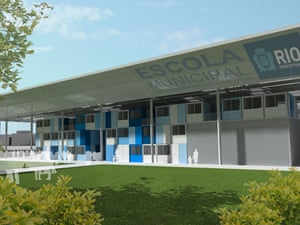 Stadium-to-school … how the school assembled from parts of the handball arena might look.