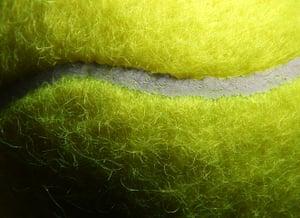 Close up Wimbledon: Fibres on an official tennis ball