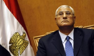 Adli Mansour, Egypt's chief justice and head of the supreme constitutional court, attends his swearing in ceremony as the nation's interim president in Cairo