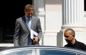 International Monetary Fund director Poul Thomsen leaves the Greek Prime Minister Antonis Samaras' office after a meeting with him in Athens, Greece, 04 July 2013.