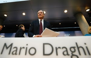 European Central Bank (ECB) President Mario Draghi leaves the monthly ECB news conference in Frankfurt July 4, 2013.