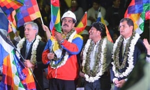 Bolivia's vice-president with presidents Maduro (Venezuela), Morales (Bolivia) and Correa (Ecuador).