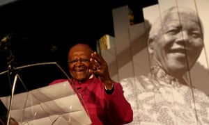 Desmond Tutu at the launch of the Nelson Mandela legacy exhibition in Cape Town, South Africa
