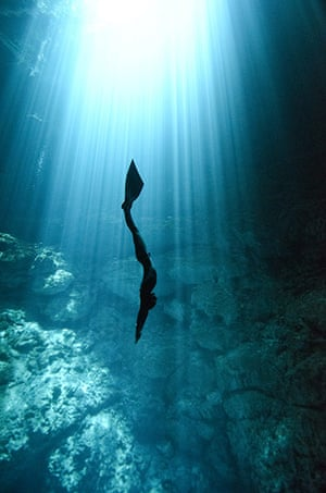Free diving: Free diving in a cenote in Mexico