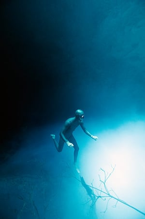 Free diving: Exploring a cenote in Mexico