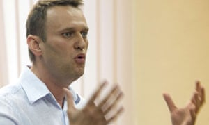 Russia's top opposition leader Alexey Navalny makes his closing remarks in a court in Kirov