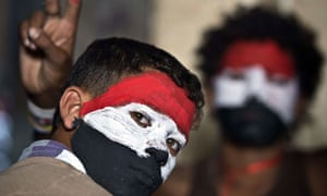 Egyptian youths with their faces painted