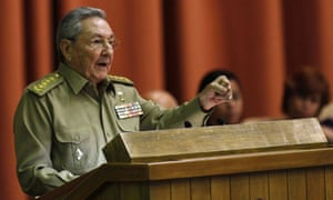Raul Castro delivers his speech to the national assembly in Havana.