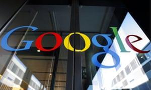 Google logo on a glass door