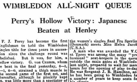 Fred Perry wins Wimbledon for third time in 1936