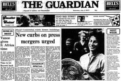 Virginia Wade wins Wimbledon 1977, Guardian front page
