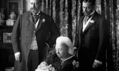 Queen Victoria with her son Edward, grandson George and great-grandson Edward