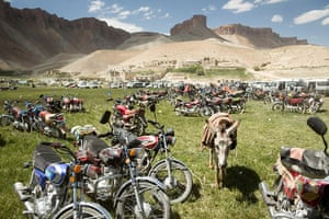 Silk Road Festival: A donkey among the motorbikes parked next to the Band-e Amir (lake)