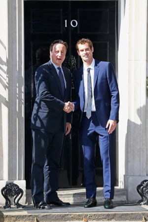 Andy Murray and David Cameron pose on the steps of Number 10 Downing Street in London, England.