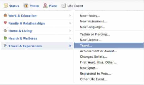 Facebook allows you to add details of 'life experiences' such as where and when you have travelled somewhere. Screenshot: Facebook.