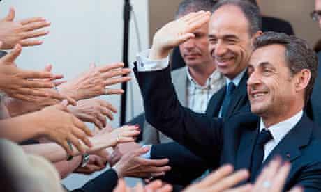 Nicolas Sarkozy at his UMP party headquarters