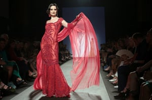A model walks the runway during Curiel Couture F/W 2013-2014 Haute Couture collection fashion show as part of AltaRoma AltaModa Fashion Week in Rome, Italy. Photograph: Elisabetta Villa/Getty Images