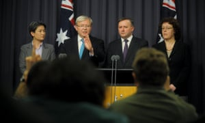 Kevin Rudd announced a proposal that would see the leader of the Labor party being elected by party members and the caucus.