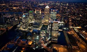 Aerial Views of Canary Wharf at night