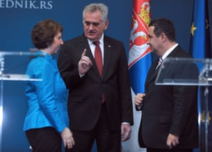 Serbian President Tomislav Nikolic (C) gestures after a press conference with EU foreign policy chief Catherine Ashton (L) and Serbian Prime Minister Ivica Dacic (R) in Belgrade. Ashton arrived to Serbia following last month's EU leaders' decision to start accession talks with Serbia and amid efforts to implement EU-brokered accord between Belgrade and Pristina.