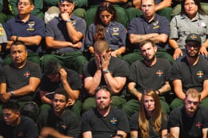 Hotshot crews attend a memorial service for the 19 fallen firefighters at Tim's Toyota Center in Prescott Valley, Arizona. Prescott's Granite Mountain Hotshots were overrun by smoke and fire while battling a blaze on a ridge in Yarnell, about 80 miles northwest of Phoenix on June 30, 2013.