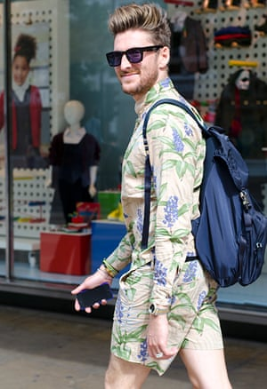 Henry Holland sports a keen beard to go with his floral print