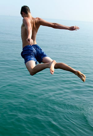 Swimming in the summer is fun. Jump in.