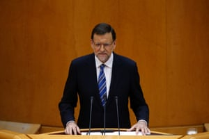 Spanish Prime Minister Mariano Rajoy speaks during a session at Madrid's Senate August 1, 2013. Rajoy told lawmakers on Thursday that the justice system would find that neither he nor his political party have committed any crime in an ongoing corruption scandal.