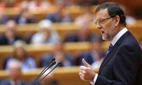 Mariano Rajoy addresses Spanish lawmakers at Madrid's senate about the funding scandal
