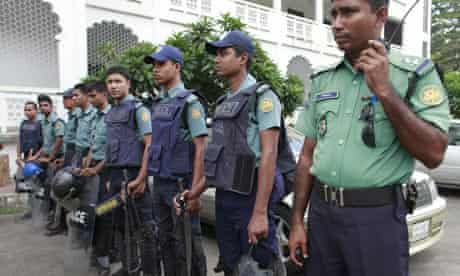 Police outside the high court in Dhaka