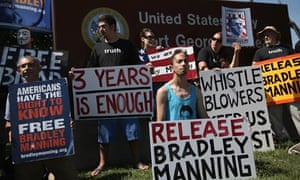 Bradley Manning supporters outside the main gate of Fort Meade, where the soldier was being sentence