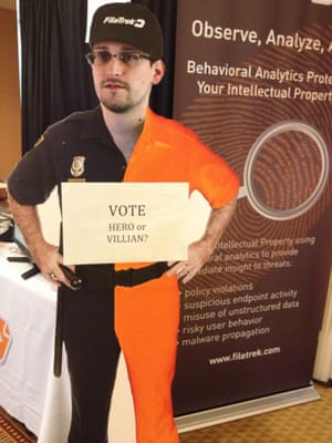A cut-out of Edward Snowden at the Black Hat conference in Las Vegas