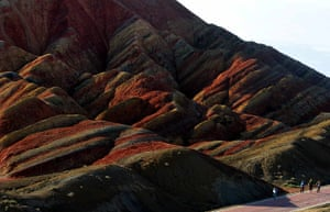 Rainbow mountains: Tourists view the scenery