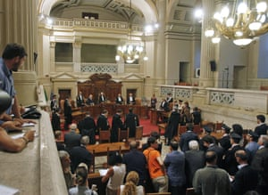 President of the Italian supreme court Antonio Esposito reads the sentence at the end of the trial involving former Italian Prime Minister Silvio Berlusconi, on August 1, 2013, at the Court of Cassation in Rome.