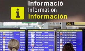 Barcelona airport flight information board
