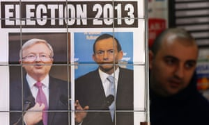 Tony Abbott and Kevin Rudd on the front page of a newspaper.