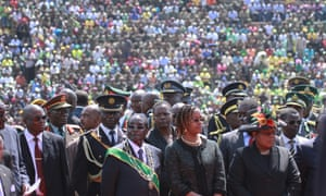 Zimbabwean President elect, Robert Mugabe and his wife Grace, attend the country's commemoration of Heroes day, in Harare.
