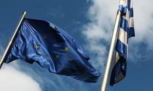 Athens, Greece. European Union flag next to Greece flag.