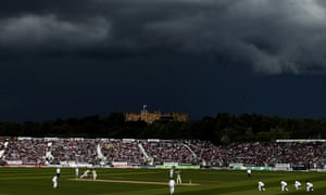 Bruised skies overhead as England look for wickets.