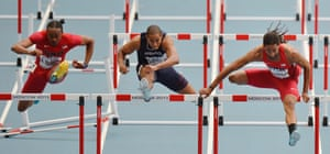 From left, United States' Aries Merritt, France's Thomas Martinot-Lagarde and United States' Jason Richardson compete in a men's 110-meter hurdles semifinal at the World Athletics Championships in the Luzhniki stadium in Moscow, Russia. Photograph: Martin Meissner/AP