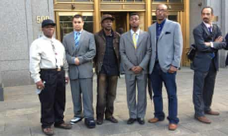 Stop-and-frisk plaintiffs outside the courthouse in New York