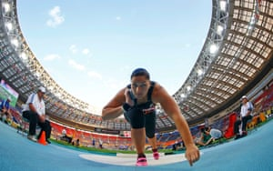 Valerie Adams of New Zealand competes in the women's shot put final during the IAAF World Athletics Championships at the Luzhniki stadium in Moscow. Photograph: Kai Pfaffenbach/Reuters