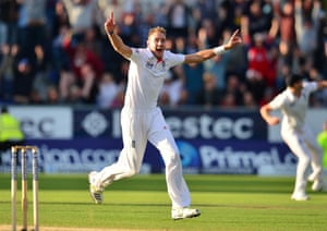 England's Stuart Broad celebrates victory over Australia during day four of the Fourth Investec Ashes test match at the Emirates Durham ICG, Durham. Photograph: Owen Humphreys/PA