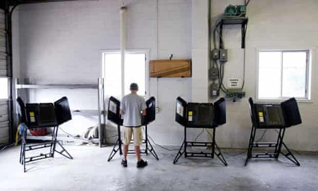 A voter at a North Carolina polling booth.
