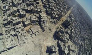 An aerial view shows the destruction in the Khalidiya district of Homs.