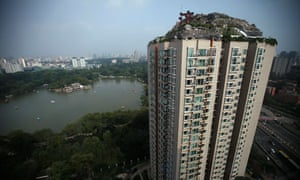 China illegal construction of villa on rooftop of residential building